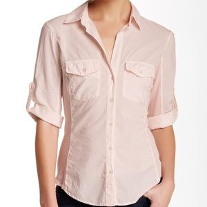 James perse pink contrast panel 3/4 sleeve shirt